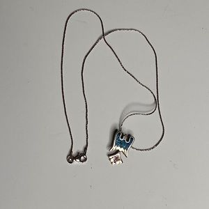 Vintage Sterling Silver Bird Turquoise Necklace